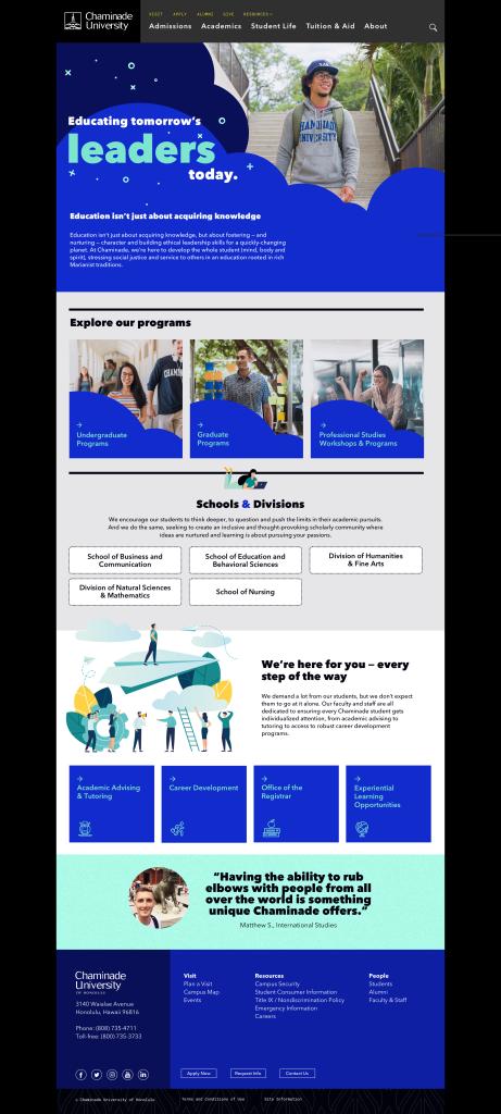 Chaminade Website- Screen 3